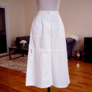 BASLER Weekend white midi a-line skirt denim